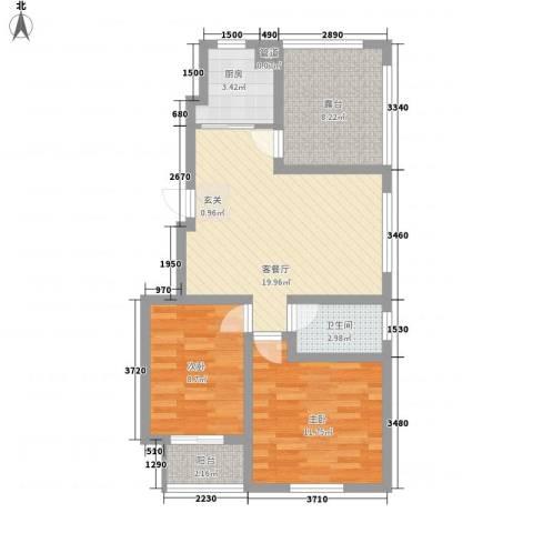 泰和名都2室1厅1卫1厨84.00㎡户型图