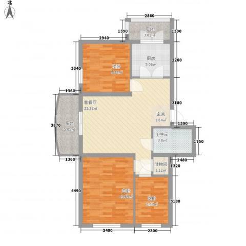 久业佳园3室1厅1卫1厨91.00㎡户型图