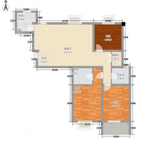水岸人家3室1厅2卫1厨109.00㎡户型图