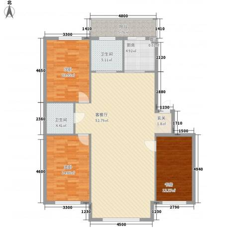 集美中心花园3室1厅2卫1厨156.00㎡户型图