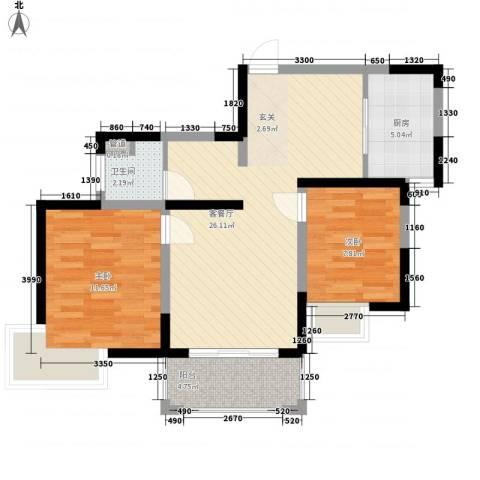 星湖花园2室1厅1卫1厨67.00㎡户型图