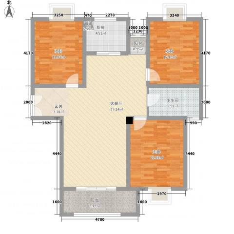 我家山水3室1厅1卫1厨134.00㎡户型图