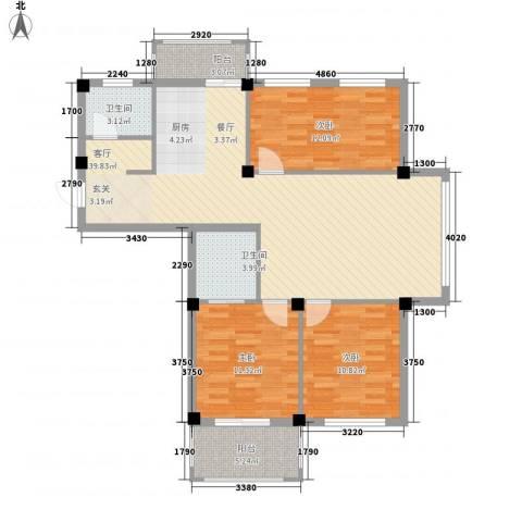金海嘉园3室1厅2卫0厨125.00㎡户型图