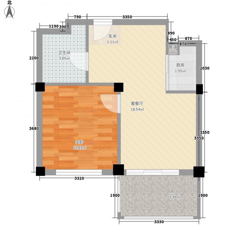 金海嘉园58.00㎡E户型1室1厅1卫1厨