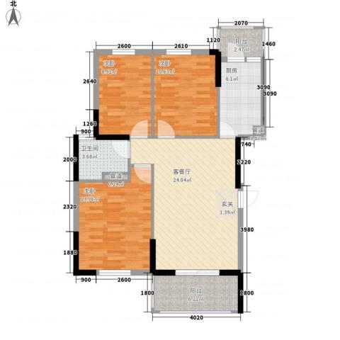叠翠轩3室1厅1卫1厨107.00㎡户型图