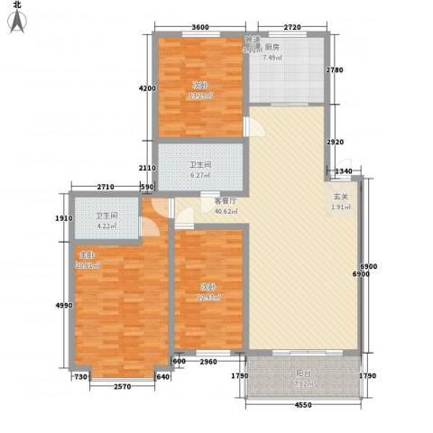 华隆小区北区3室1厅2卫1厨159.00㎡户型图