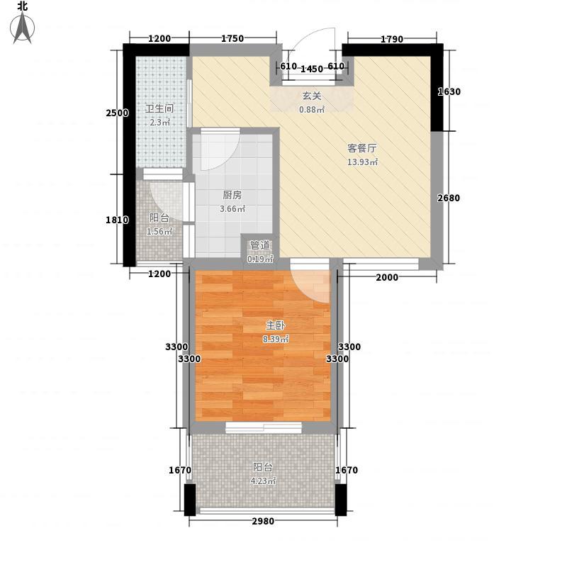 泰基北锦44.77㎡G型2单元偶数层户型1室1厅1卫1厨