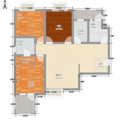 金色家园3室1厅2卫1厨127.00㎡户型图