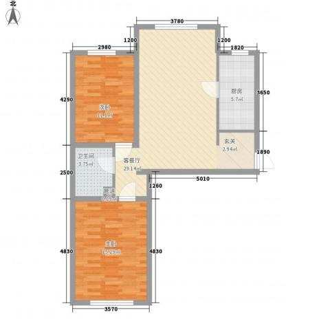 世纪阳光花园2室1厅1卫1厨73.81㎡户型图