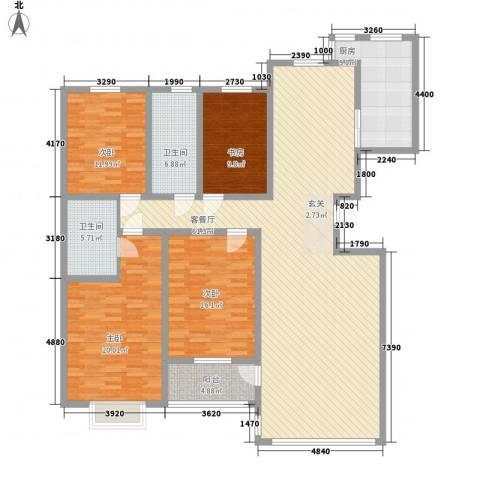 世纪阳光花园4室1厅2卫1厨165.00㎡户型图