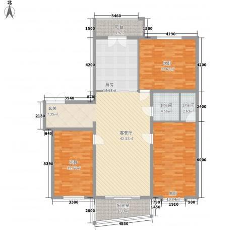 新天地家园3室1厅2卫1厨172.00㎡户型图