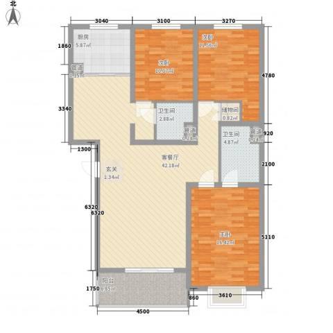 食府花园3室1厅2卫1厨145.00㎡户型图