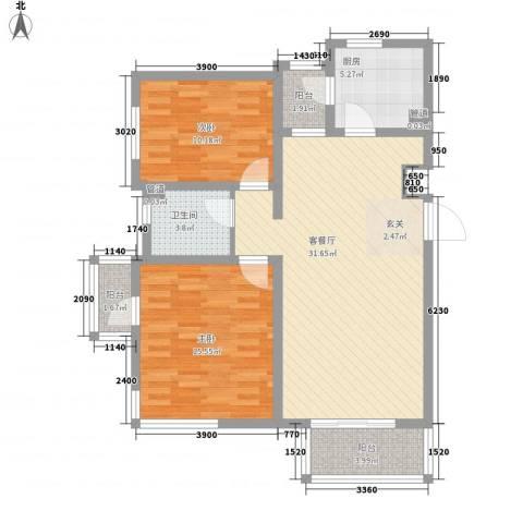 万科中央公园2室1厅1卫1厨106.00㎡户型图