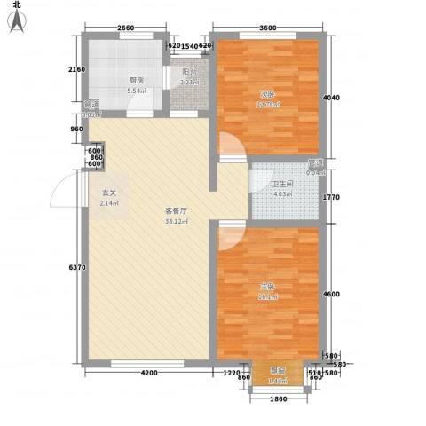 万科中央公园2室1厅1卫1厨97.00㎡户型图