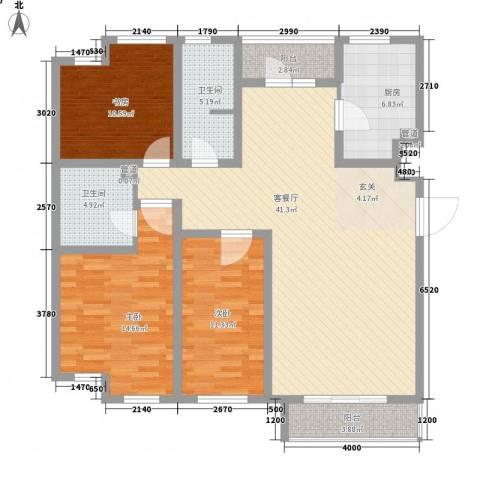 万科中央公园3室1厅2卫1厨137.00㎡户型图
