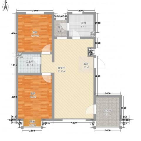 万科中央公园2室1厅1卫1厨107.00㎡户型图