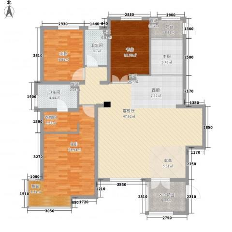 万科中央公园3室1厅2卫0厨142.00㎡户型图