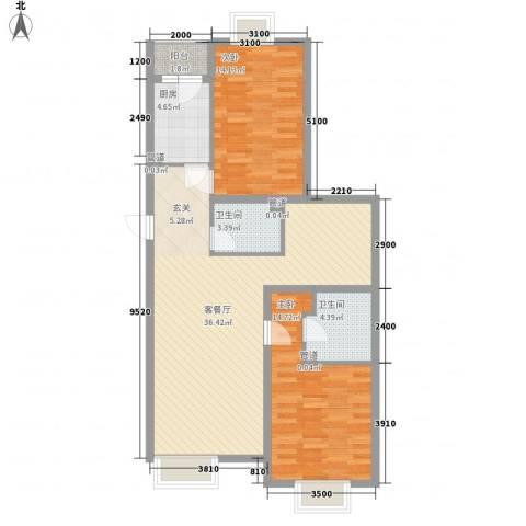 丽港・美度2室1厅2卫1厨104.00㎡户型图