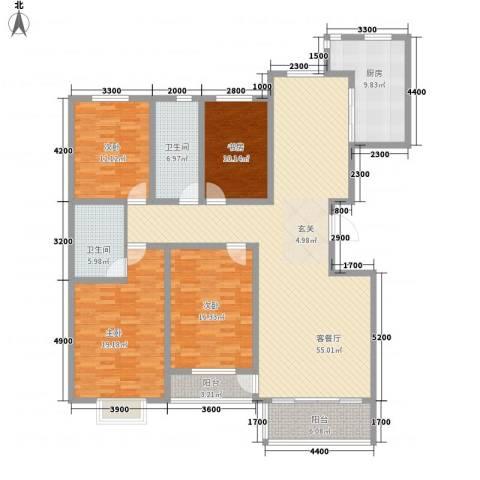 昭君花园4室1厅2卫1厨206.00㎡户型图