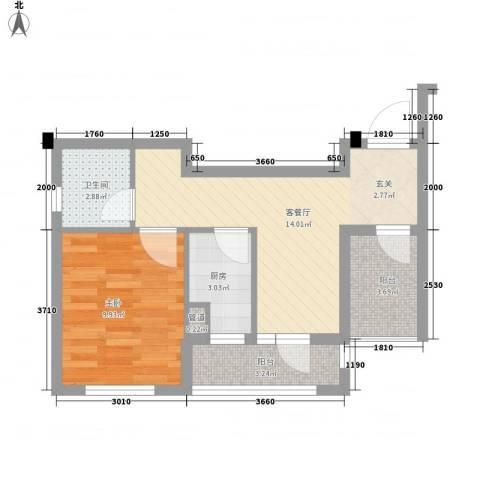 泰和轩・上峰1室1厅1卫1厨43.94㎡户型图
