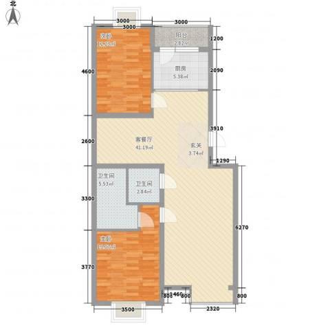 丽港・美度2室1厅2卫1厨117.00㎡户型图