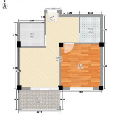金海嘉园1室1厅1卫1厨56.00㎡户型图