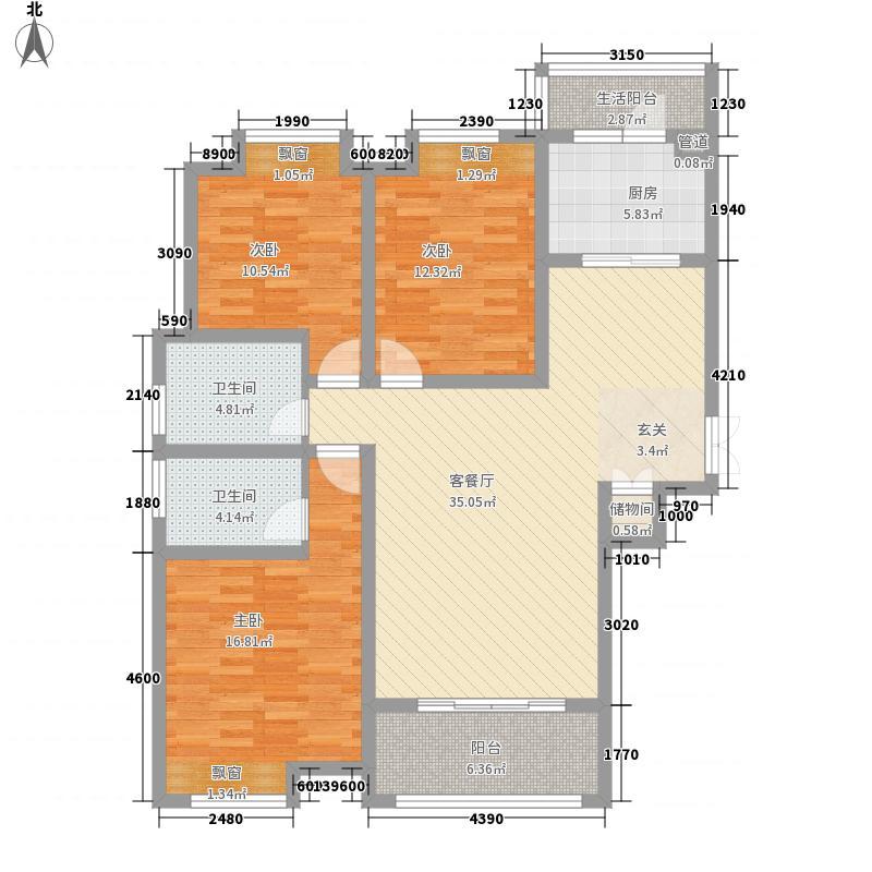 千林世纪城户型图B1户型 3室2厅2卫1厨