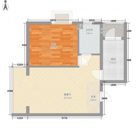 丽港・美度1室1厅1卫1厨69.00㎡户型图