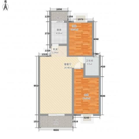 东山阳光新城2室1厅1卫1厨98.00㎡户型图
