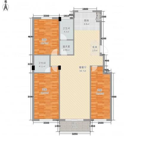 蓓佛莉庄园3室1厅2卫0厨158.00㎡户型图