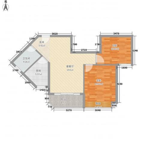 恒大金碧天下2室1厅1卫1厨87.00㎡户型图