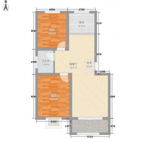 海港城2室1厅1卫1厨87.00㎡户型图