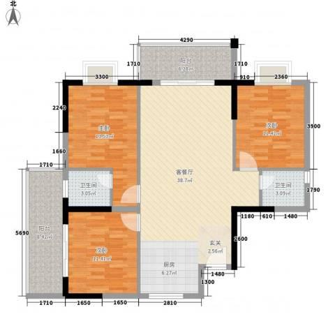桂林日报社小区滨江国际3室1厅2卫0厨117.00㎡户型图