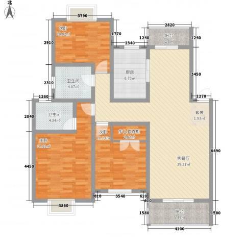 西河苑3室1厅2卫1厨150.00㎡户型图