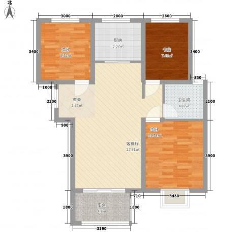 金色家园3室1厅1卫1厨100.00㎡户型图