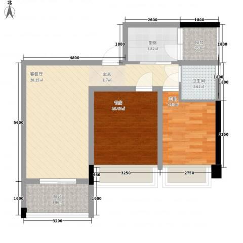世纪城2室1厅1卫1厨76.00㎡户型图