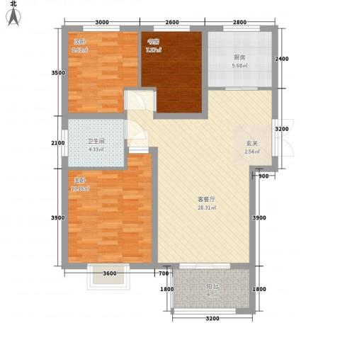金色家园3室1厅1卫1厨103.00㎡户型图