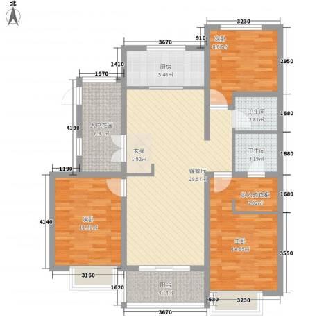 星光山水3室1厅2卫1厨101.00㎡户型图