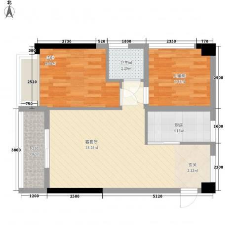 世纪城2室1厅1卫1厨72.00㎡户型图