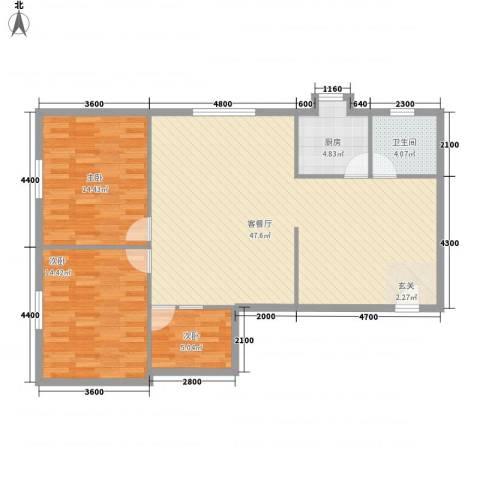 城西山水3室1厅1卫1厨123.00㎡户型图