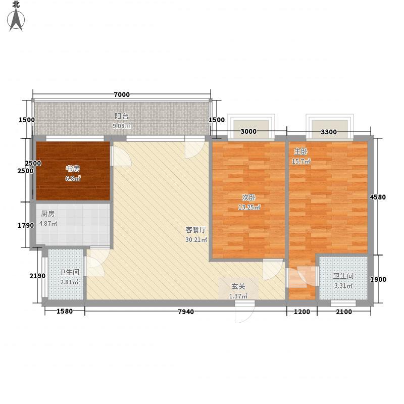 福建大厦113.96㎡福建大厦户型图2室2厅2卫1厨户型10室