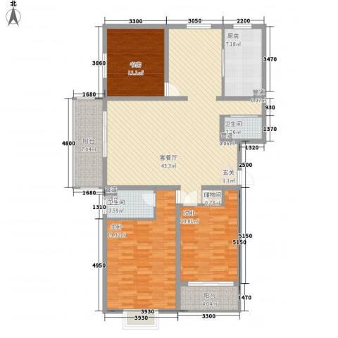 华隆小区北区3室1厅2卫1厨158.00㎡户型图