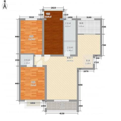 争春花园3室1厅3卫1厨131.00㎡户型图
