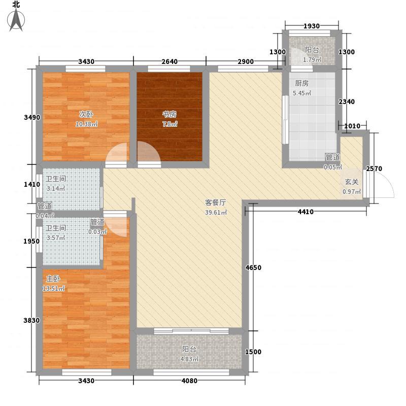 胜芳未来城13.70㎡D23居户型3室2厅2卫1厨