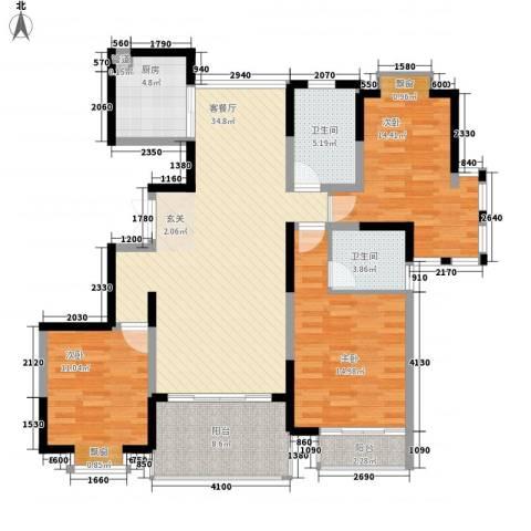 我家山水瑞雪苑3室1厅2卫1厨144.00㎡户型图