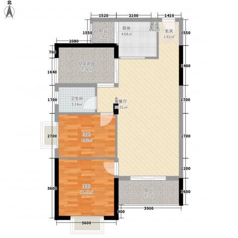 城市主场2室1厅1卫1厨73.19㎡户型图