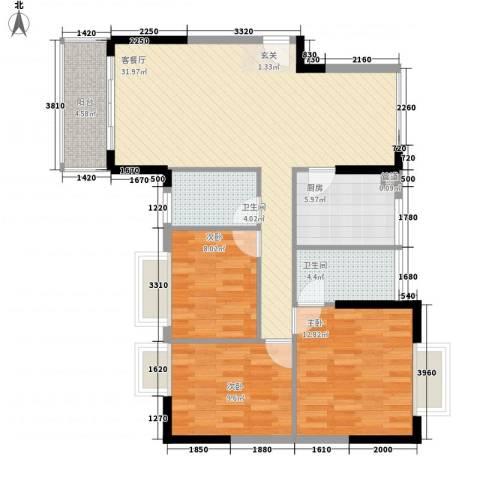 城市主场3室1厅2卫1厨115.00㎡户型图