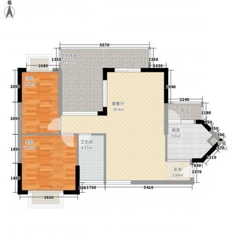 城市主场2室1厅1卫1厨75.08㎡户型图