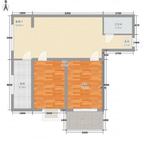 长缨新座2室1厅1卫1厨100.00㎡户型图
