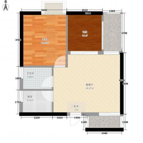 中天财富2室1厅1卫1厨58.00㎡户型图